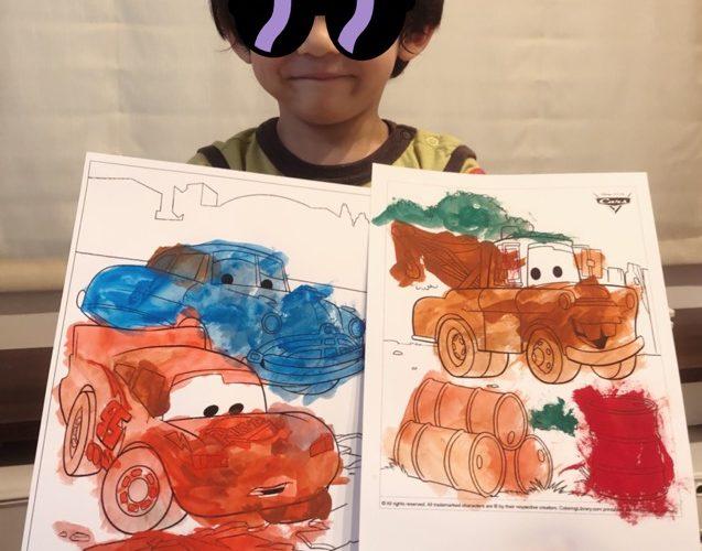 長男4歳、自宅で絵の具デビュー!